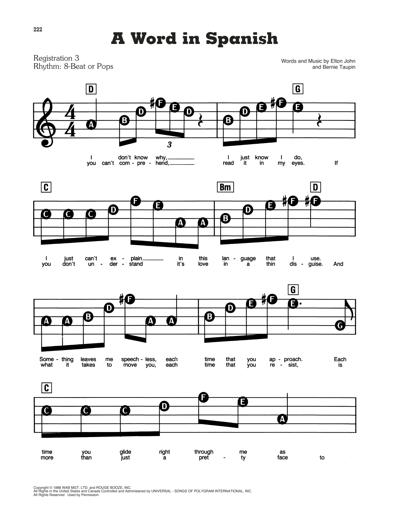 A Word In Spanish Sheet Music