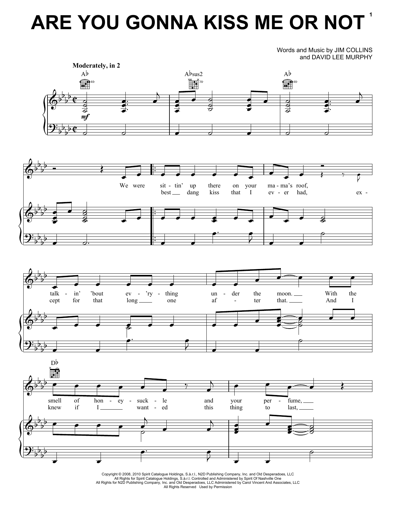 Are You Gonna Kiss Me Or Not Sheet Music