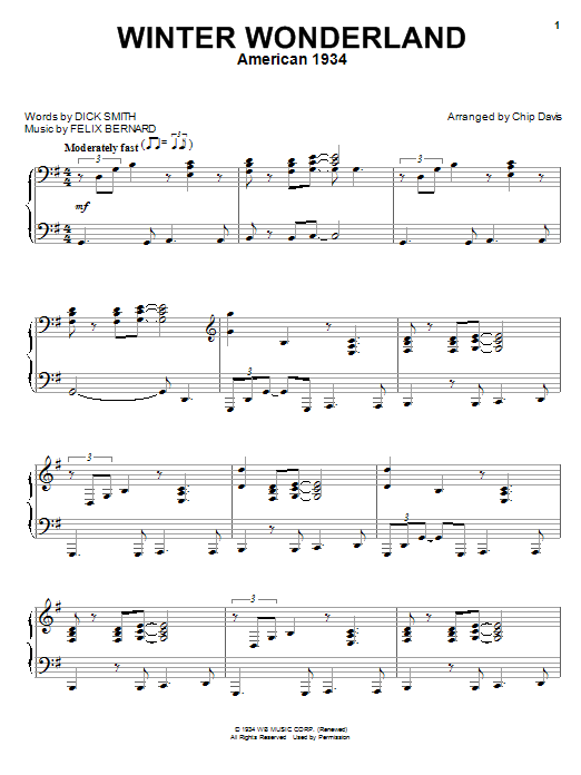Piano piano chords winter wonderland : Winter Wonderland | Sheet Music Direct