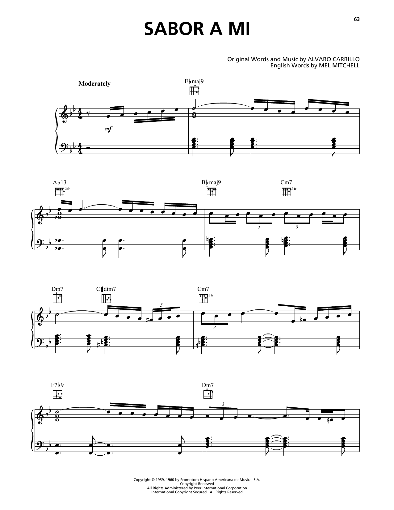 Sabor A Mi (Be True To Me) (Piano, Vocal & Guitar (Right-Hand Melody))