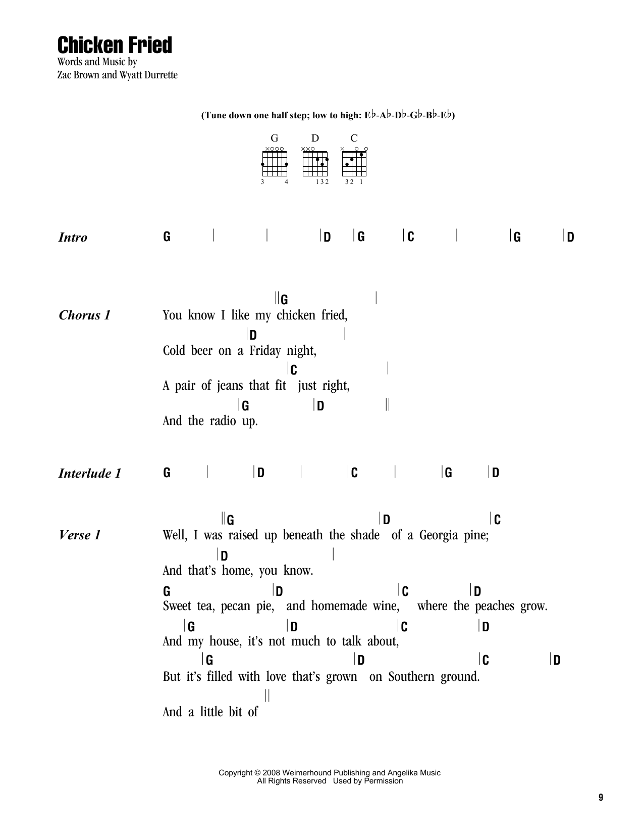 Chicken Fried Sheet Music