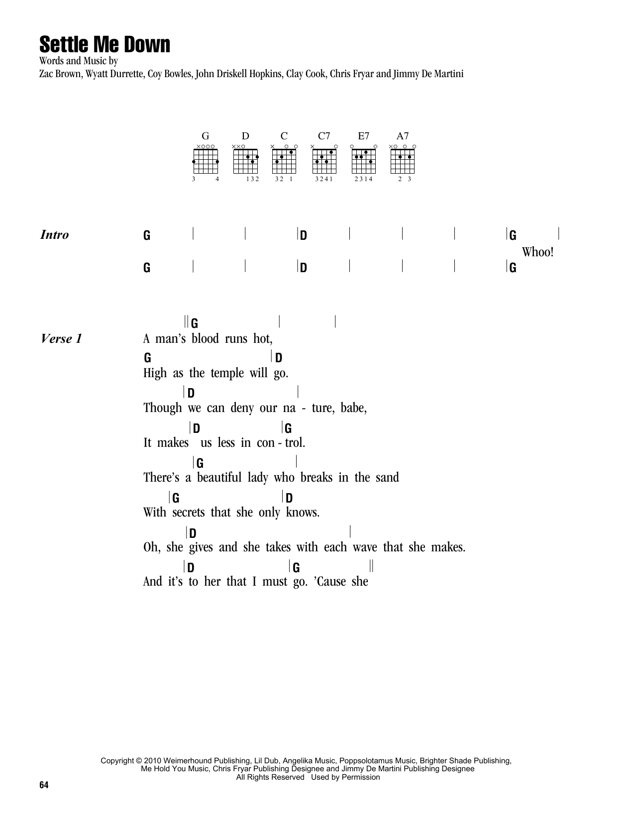 Settle Me Down Sheet Music