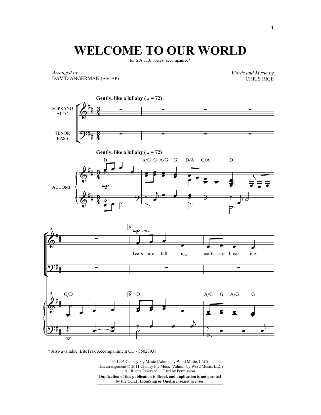 Partition chorale Welcome To Our World (arr. David Angerman) de  - SATB