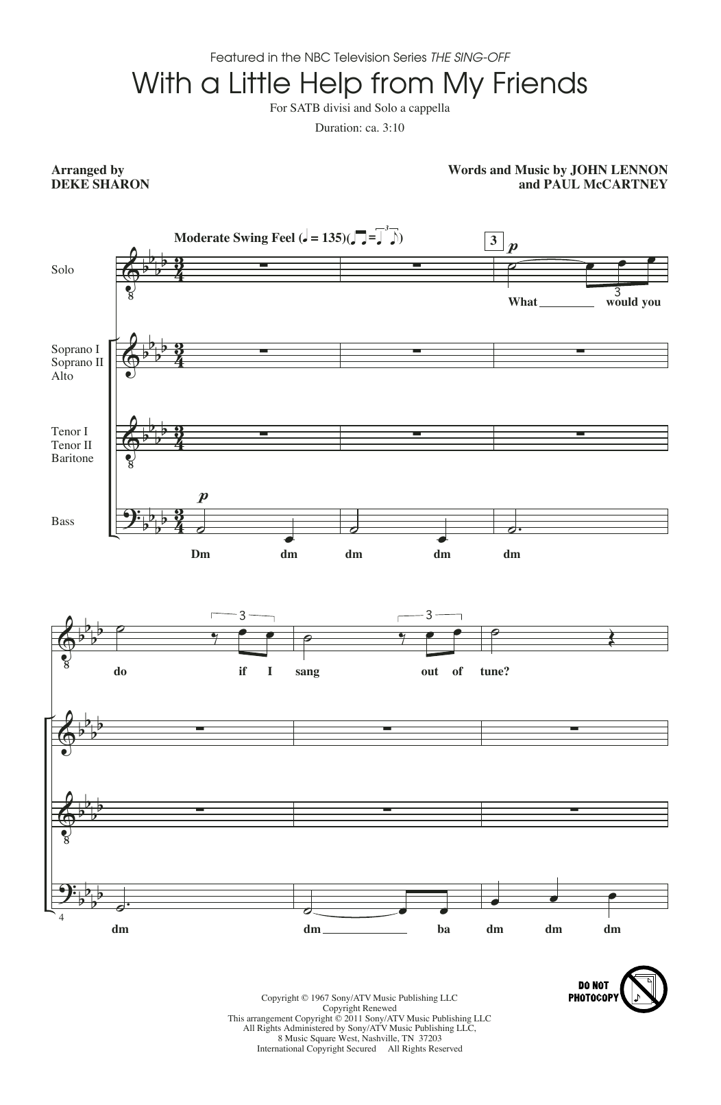 With A Little Help From My Friends (from The Sing-Off) (arr. Deke Sharon) (SATB Choir)