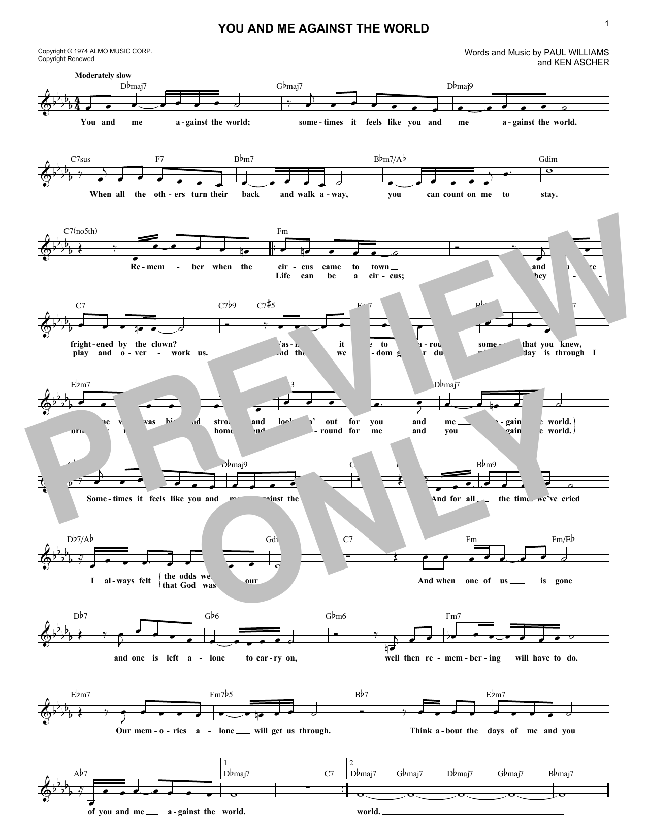 You And Me Against The World (Lead Sheet / Fake Book)