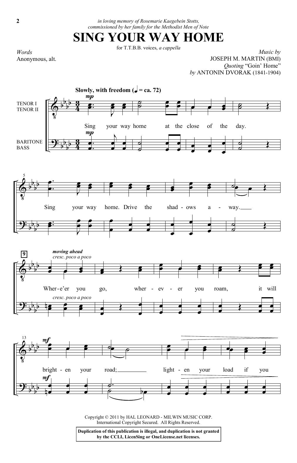 Sing Your Way Home (TTBB Choir)