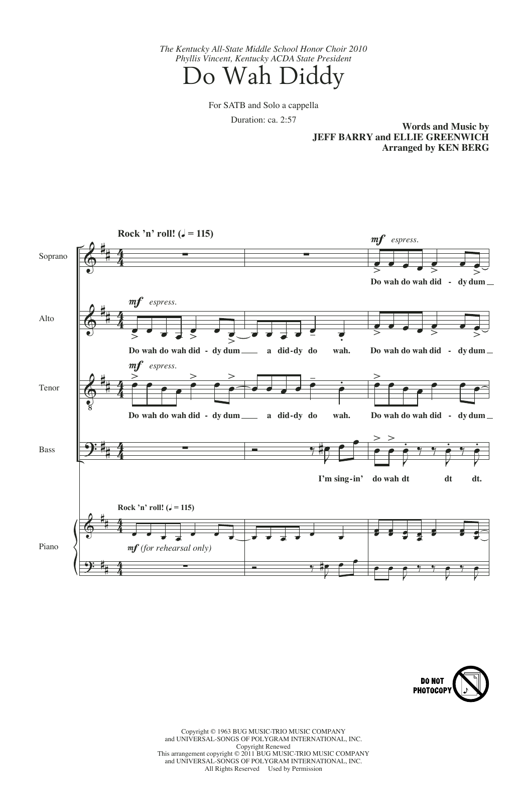 Do Wah Diddy Diddy (arr. Ken Berg) (Choir)