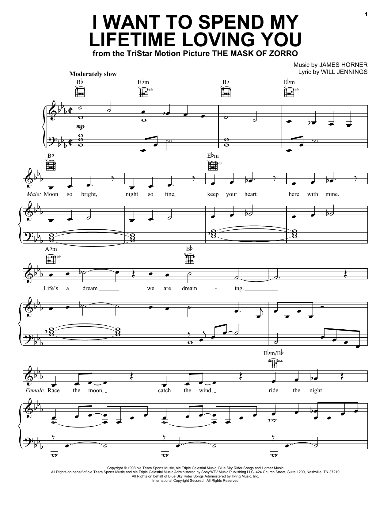 I Want To Spend My Lifetime Loving You (Piano, Vocal & Guitar (Right-Hand Melody))