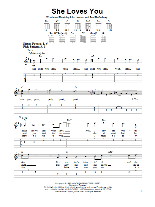 She Loves You Easy Guitar Tab Print Sheet Music Now