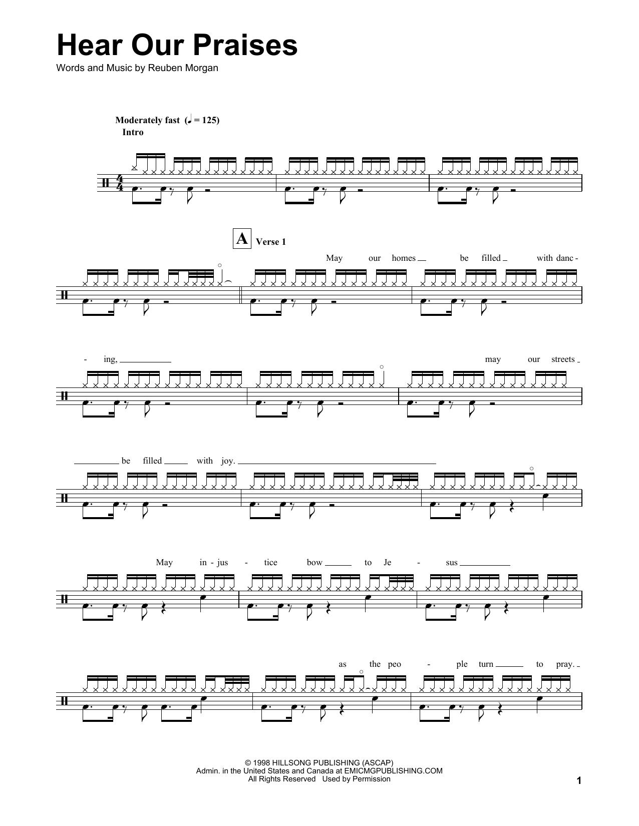 Hear Our Praises (Drums Transcription)