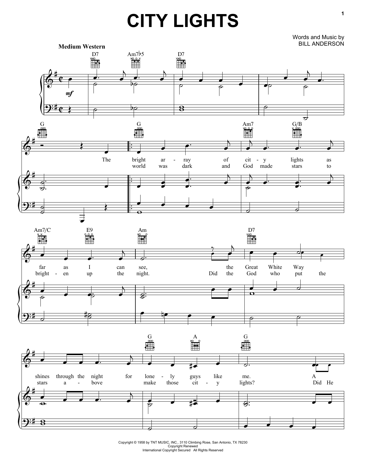 City Lights Sheet Music