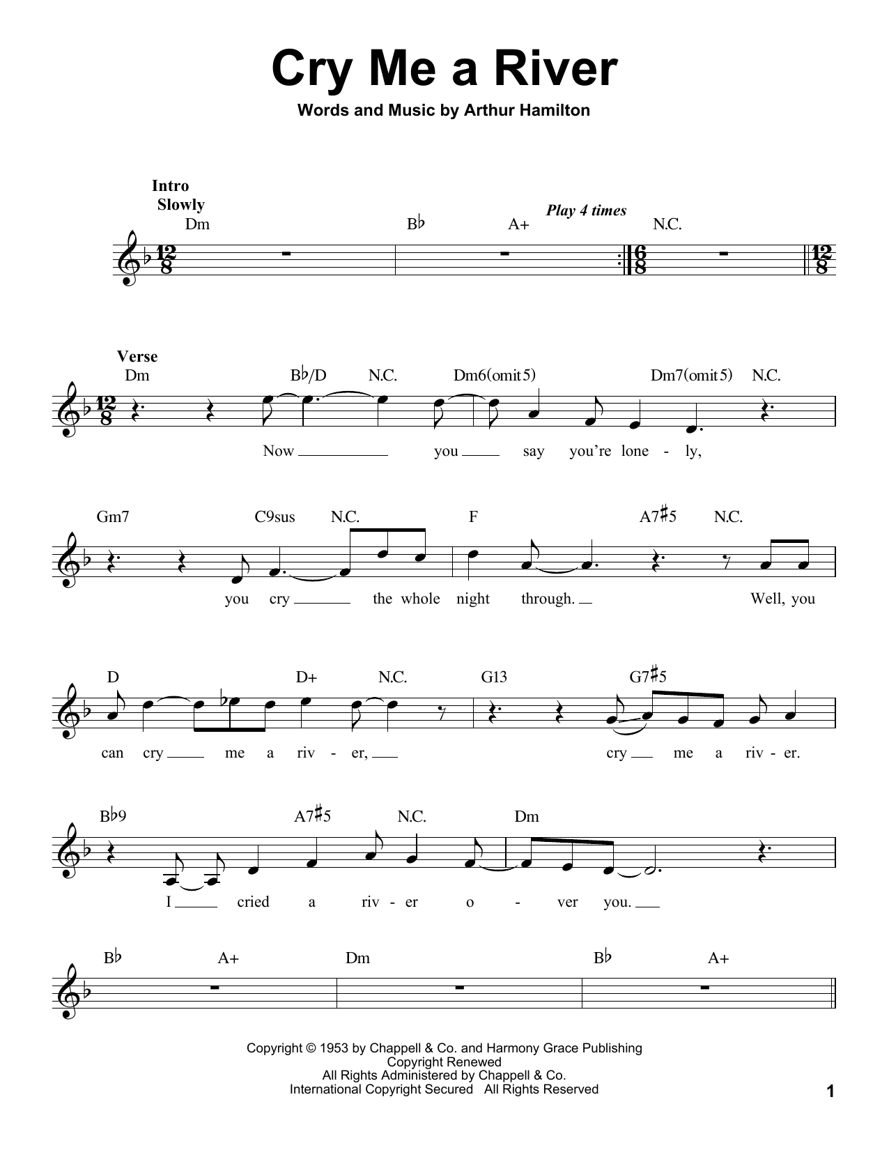 Cry Me A River Pro Vocal Print Sheet Music Now