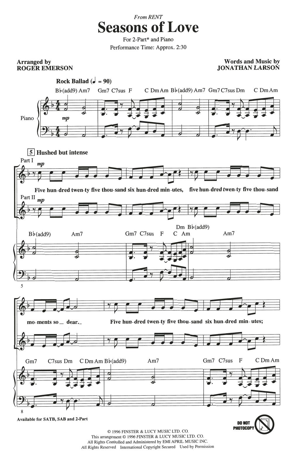 Partition chorale Seasons Of Love (from Rent) (arr. Roger Emerson) de Jonathan Larson - 2 voix