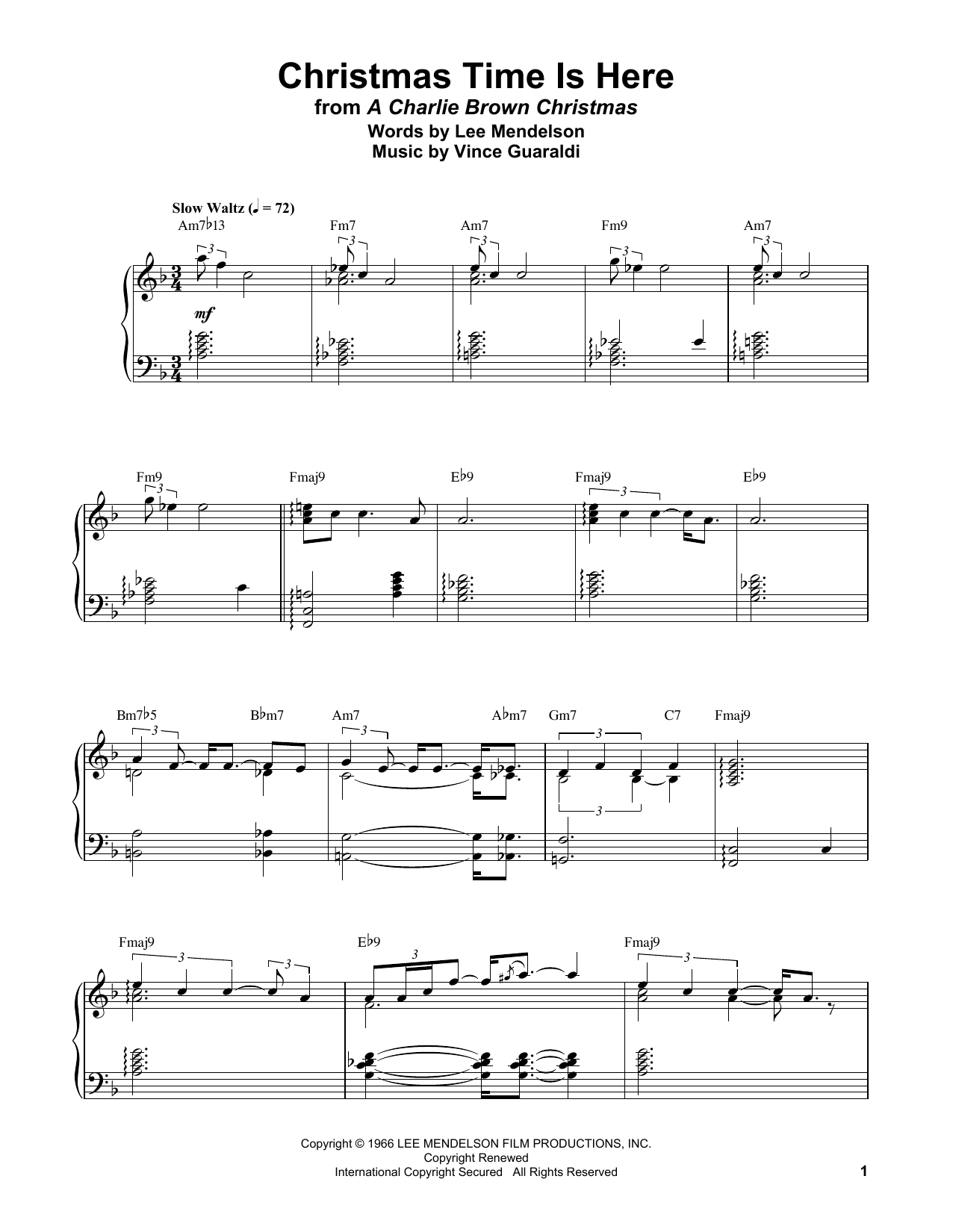 Christmas Time Is Here (Piano Transcription)