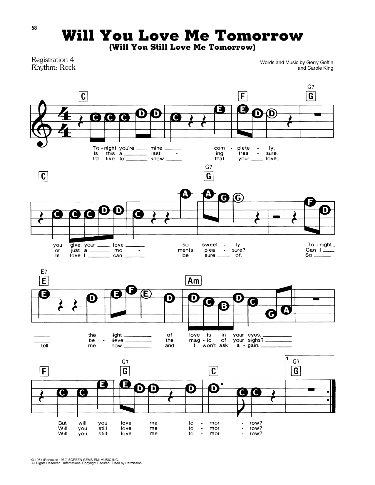 Will You Love Me Tomorrow (Will You Still Love Me Tomorrow) Sheet Music