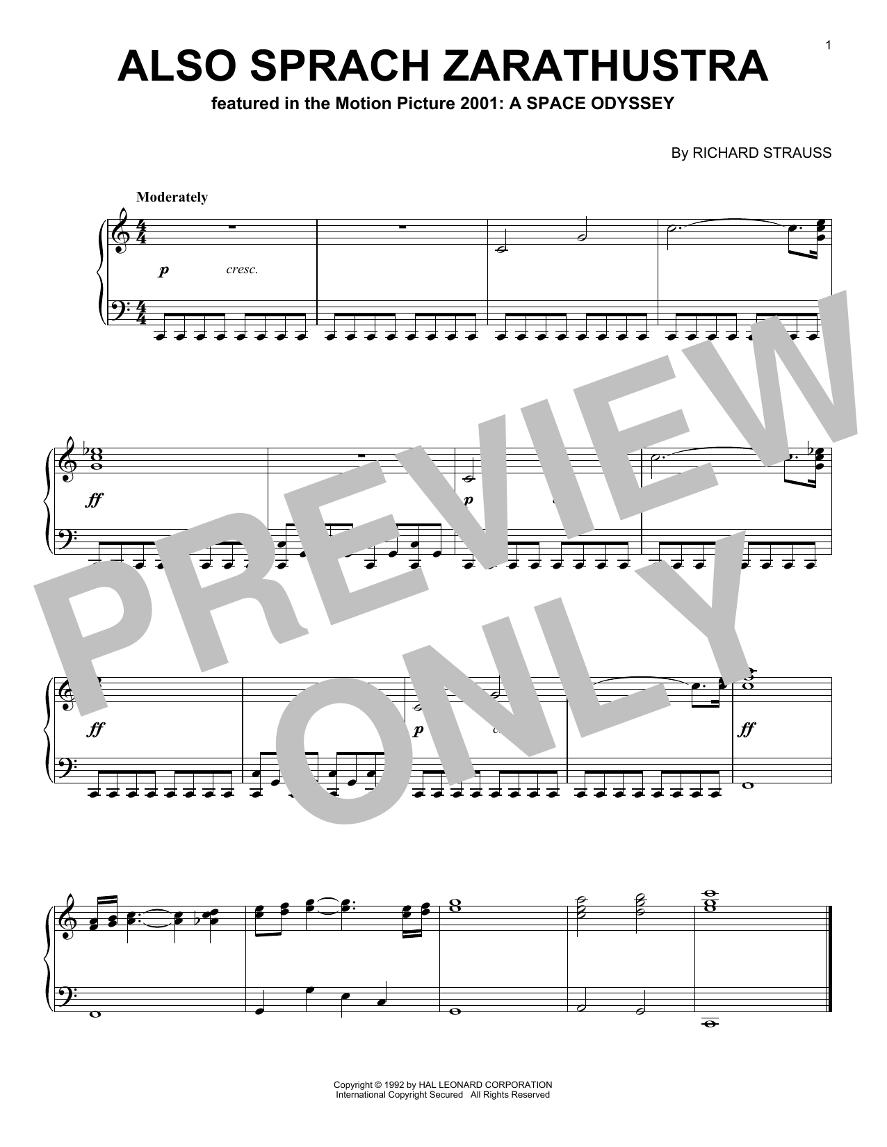 Partition piano Also Sprach Zarathustra de Richard Strauss - Piano Solo