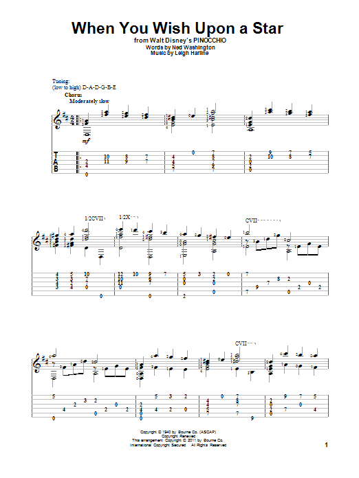 Tablature guitare When You Wish Upon A Star de Ned Washington - Tablature Guitare