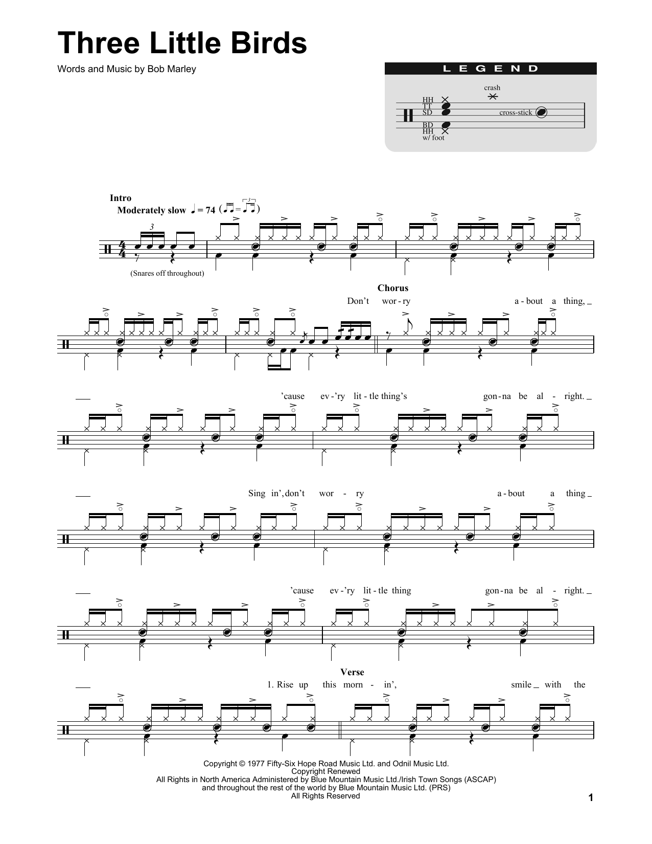 Three little birds sheet music by bob marley drums transcription bob marley three little birds drums transcription hexwebz Gallery