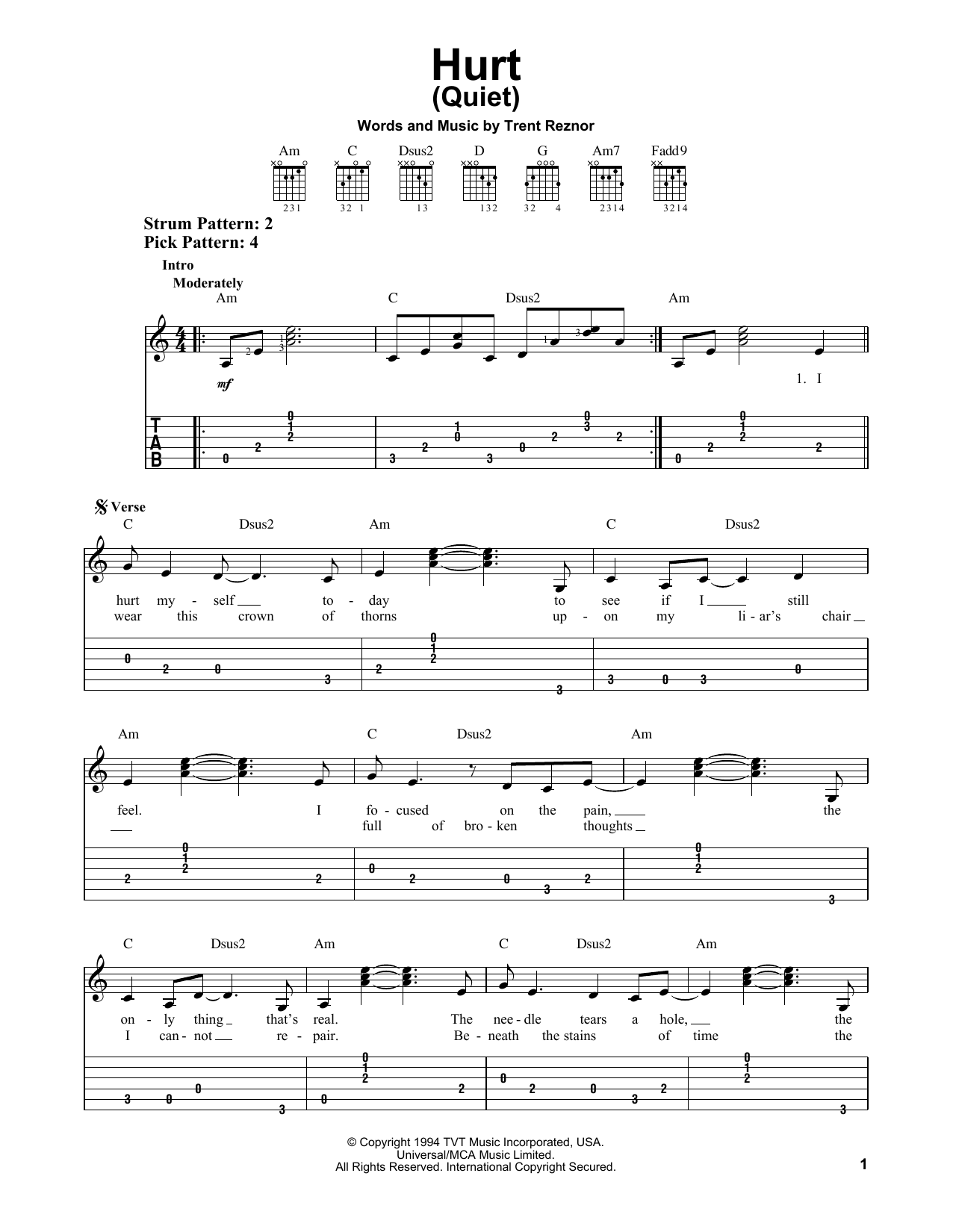 Hurt Quiet By Johnny Cash Easy Guitar Tab Guitar Instructor