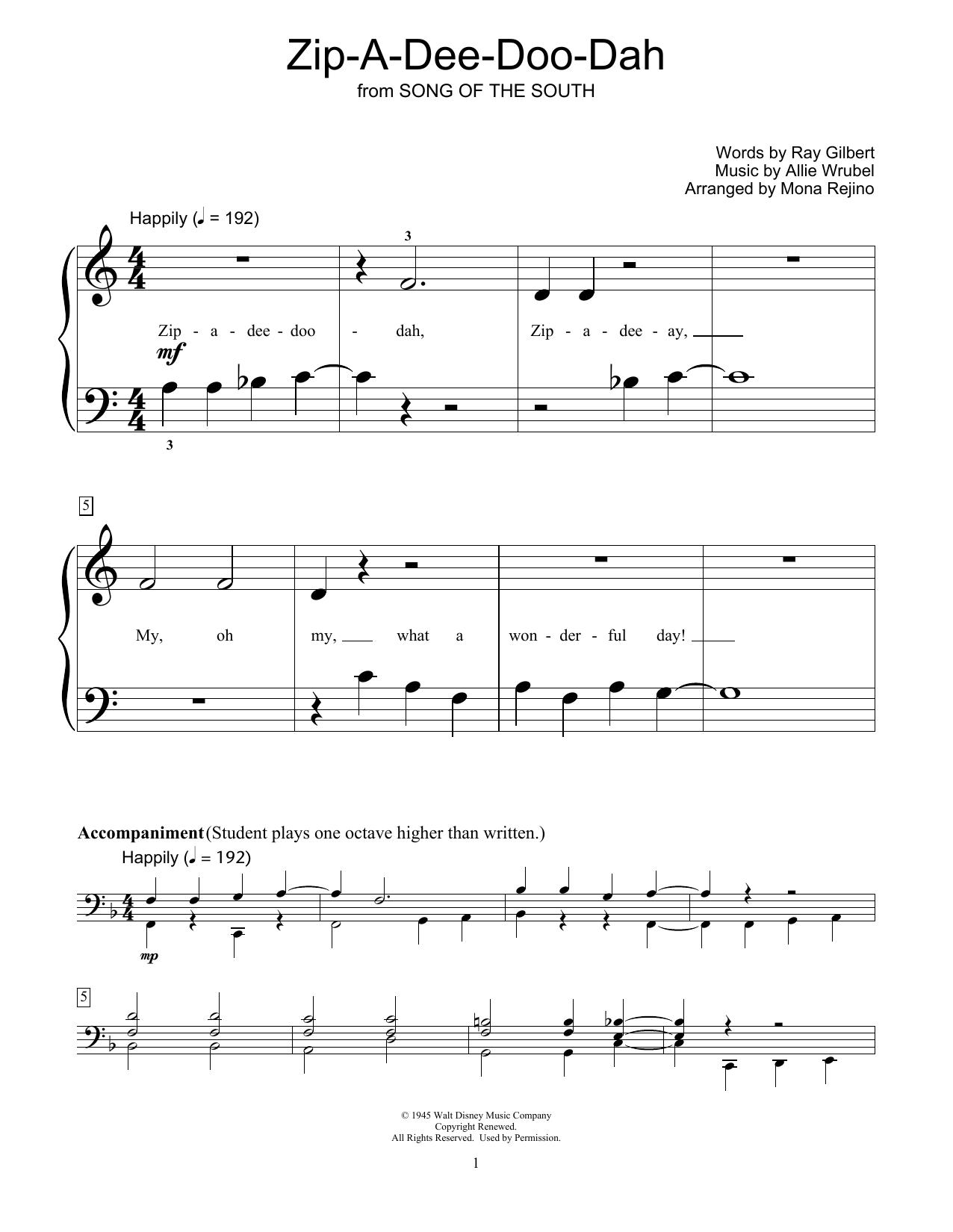 Zip-A-Dee-Doo-Dah (arr. Mona Rejino) (Educational Piano)