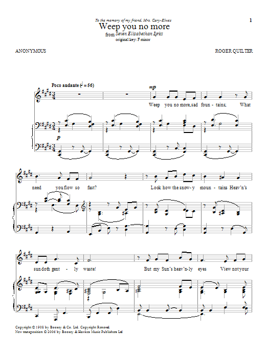 Weep You No More Sheet Music