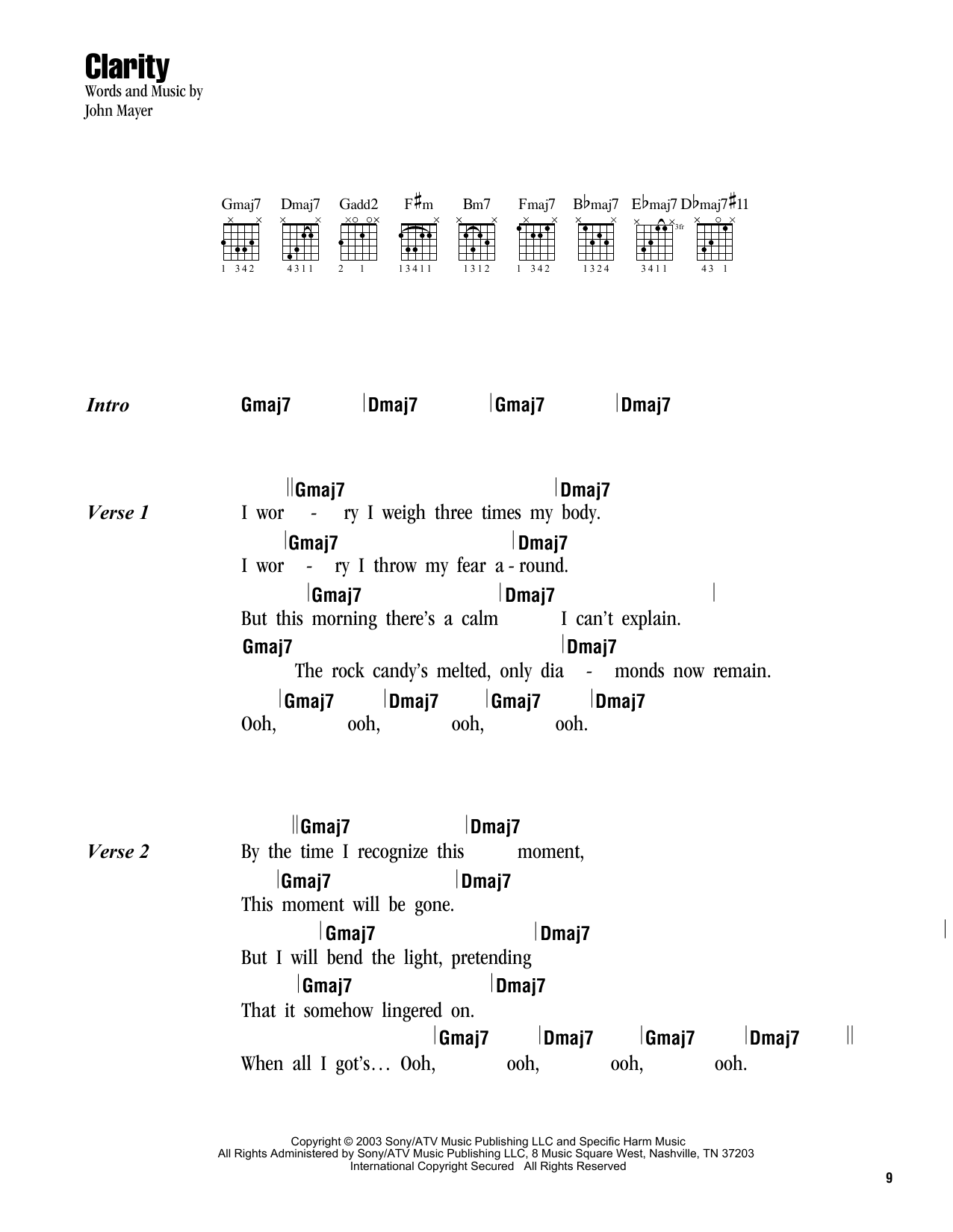 Clarity sheet music by john mayer lyrics chords 163092 clarity sheet music hexwebz Image collections