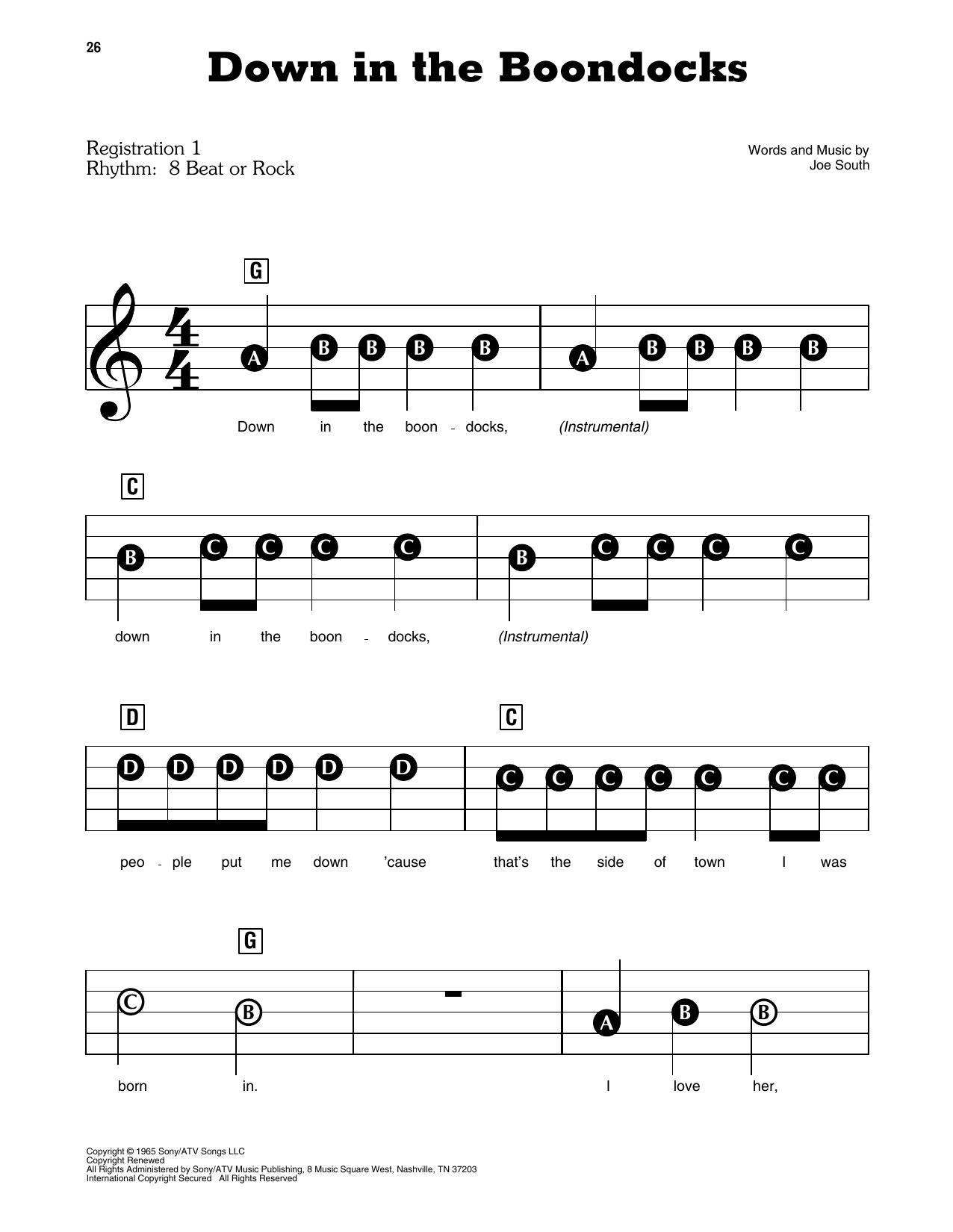 Down In The Boondocks Sheet Music