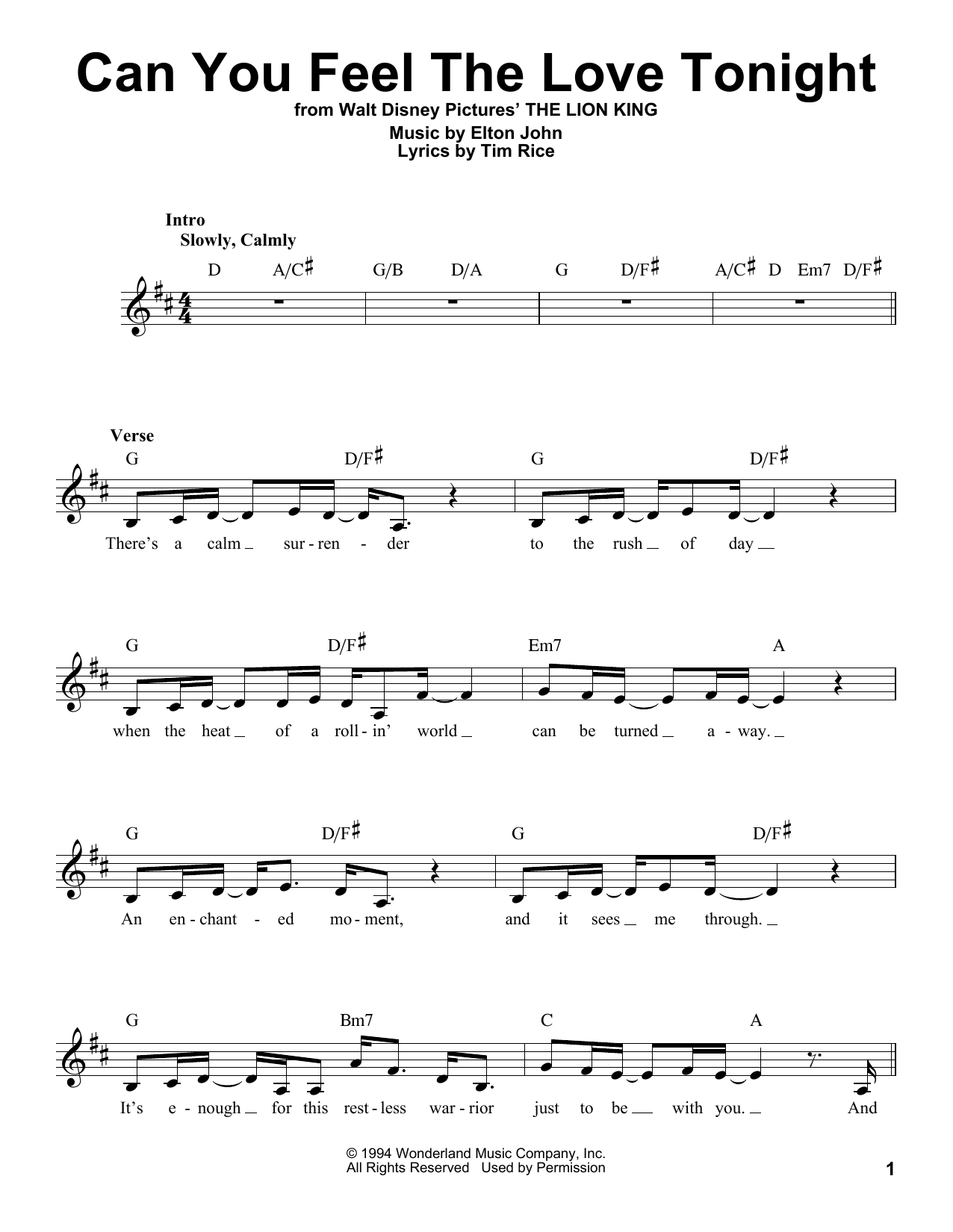 Can You Feel The Love Tonight by Elton John Educational Piano Digital Sheet  Music