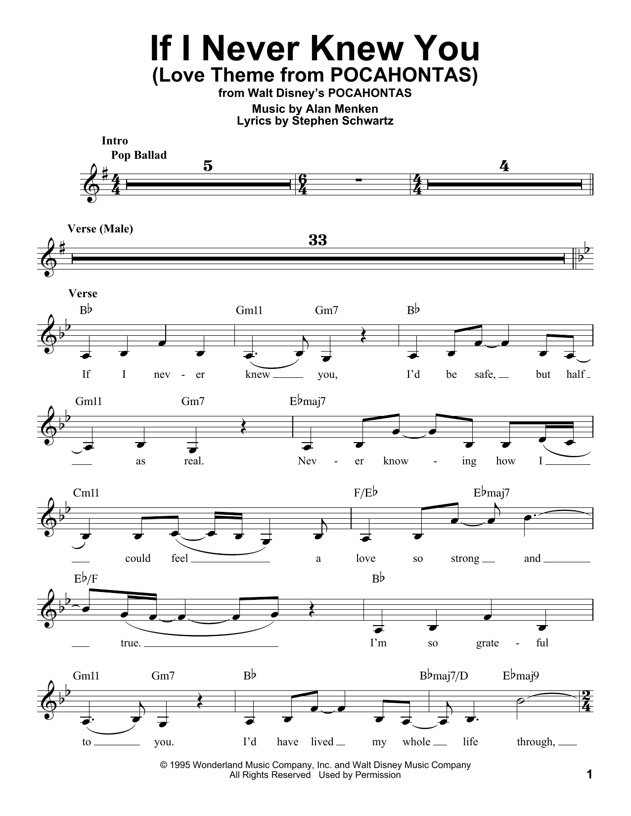 If I Never Knew You (End Title) Sheet Music