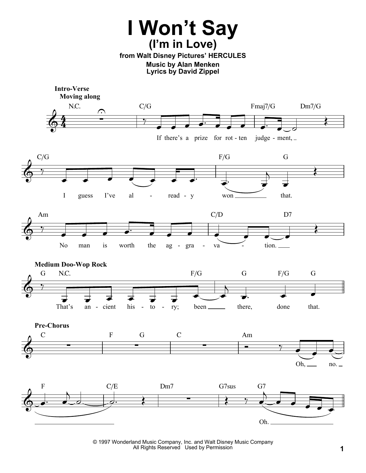 I Won't Say (I'm In Love) Sheet Music