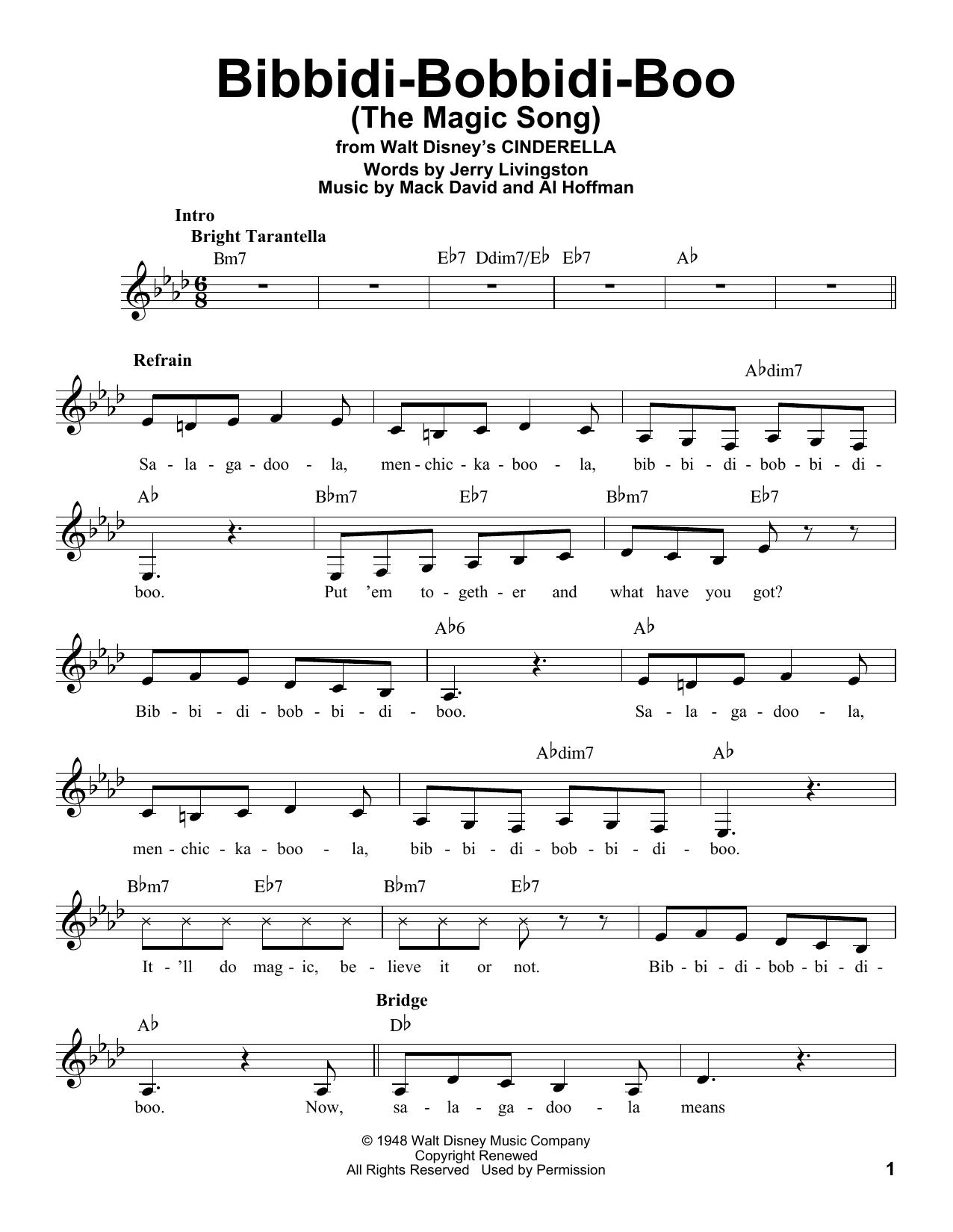 Bibbidi-Bobbidi-Boo (The Magic Song) Sheet Music