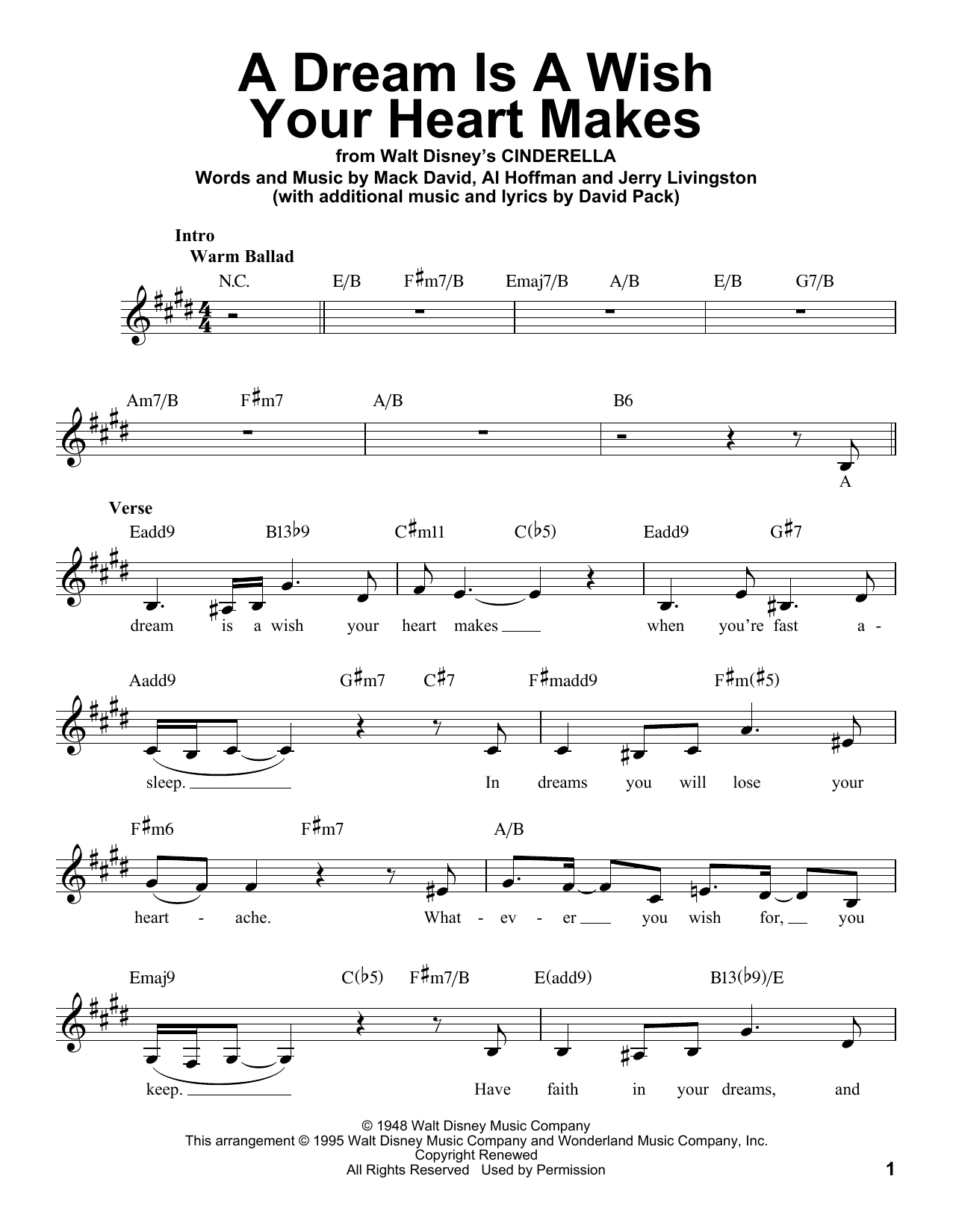 A Dream Is A Wish Your Heart Makes Sheet Music