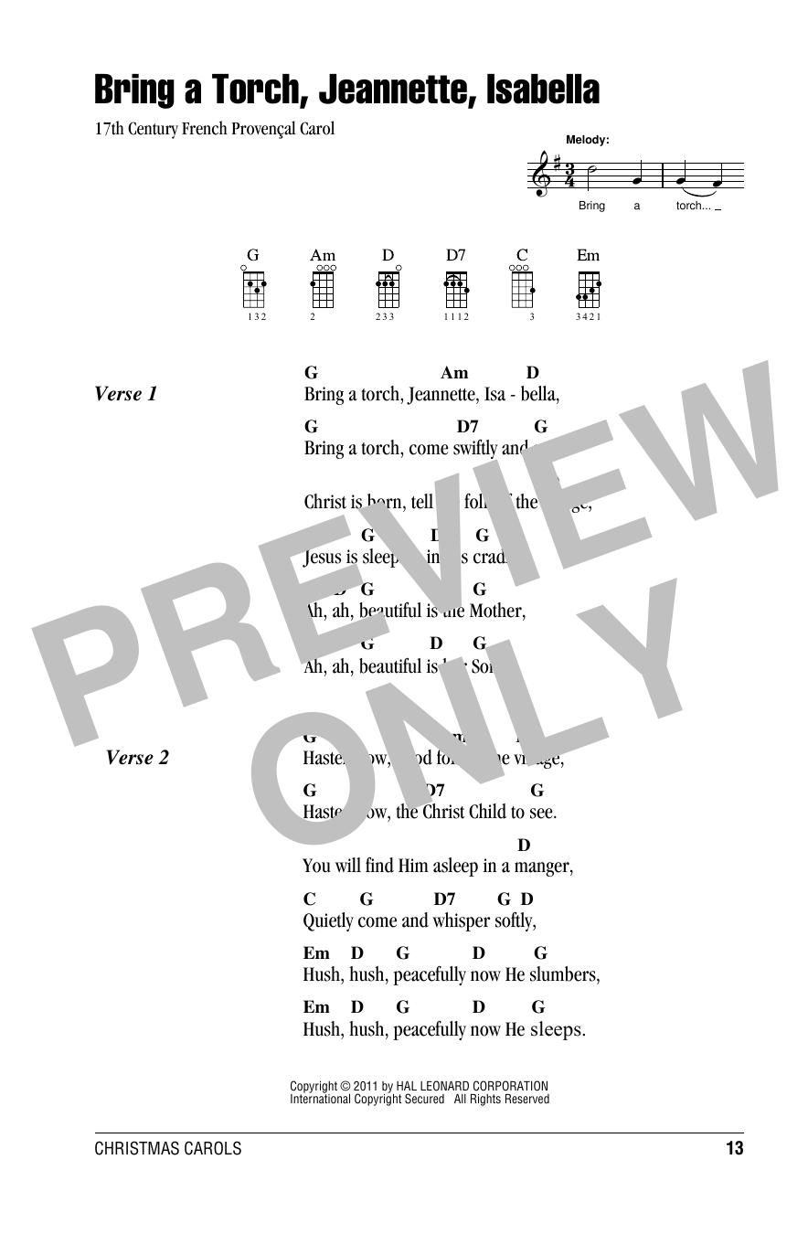 Bring A Torch, Jeannette, Isabella (Ukulele Chords/Lyrics)
