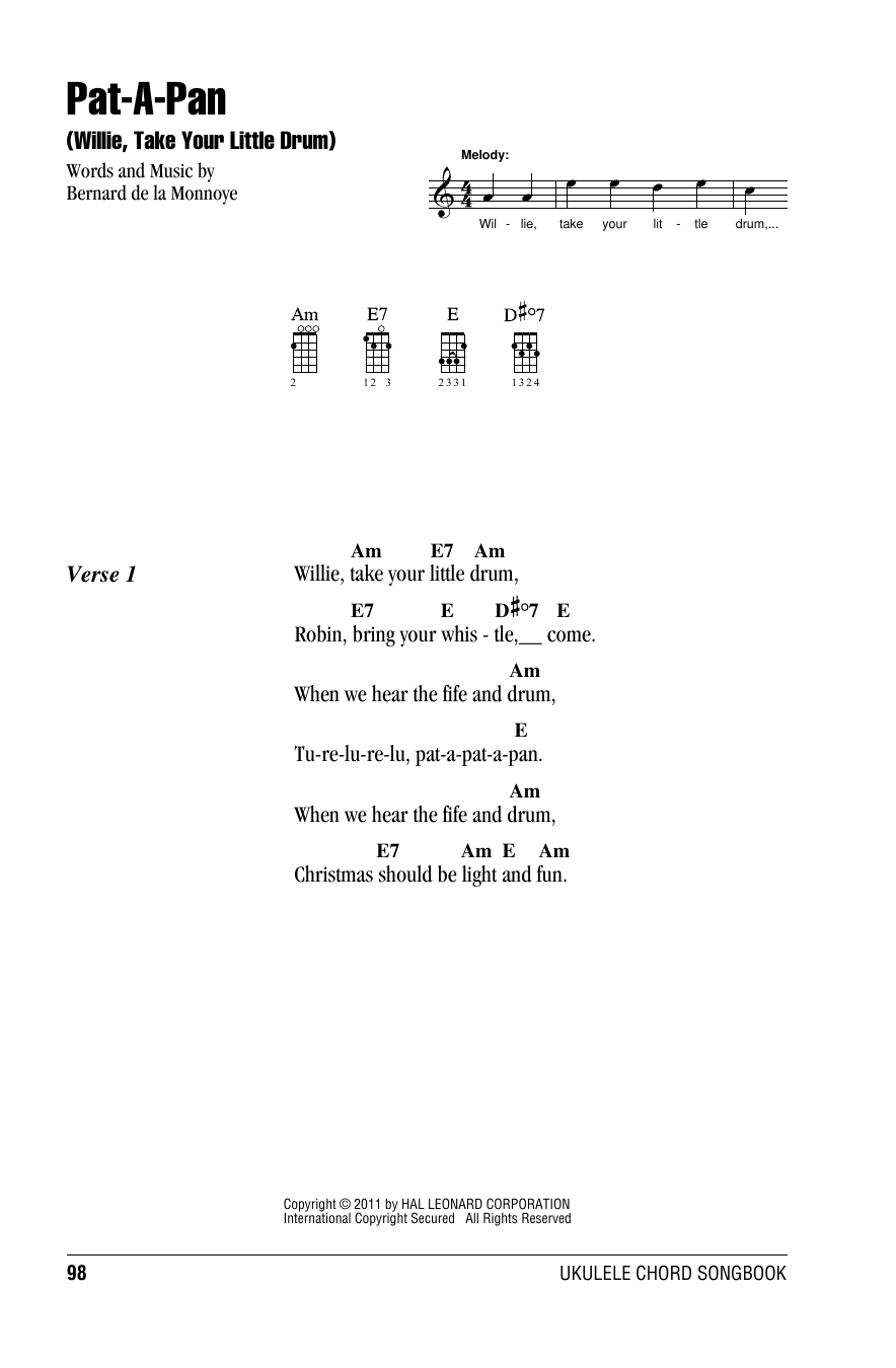 Tablature guitare Pat-A-Pan (Willie, Take Your Little Drum) de Bernard de la Monnoye - Accords Ukulele