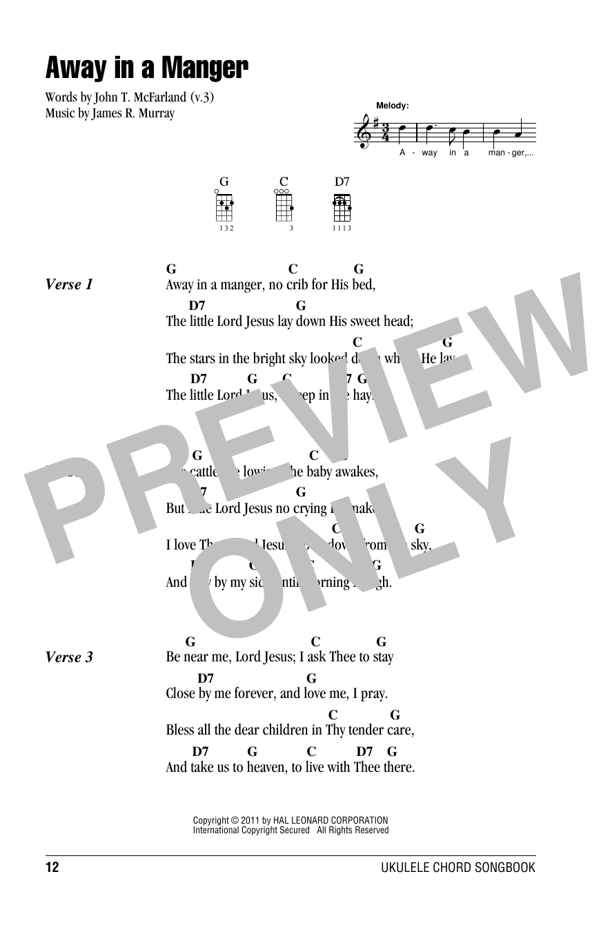 Away In A Manger Sheet Music James R Murray Ukulele With