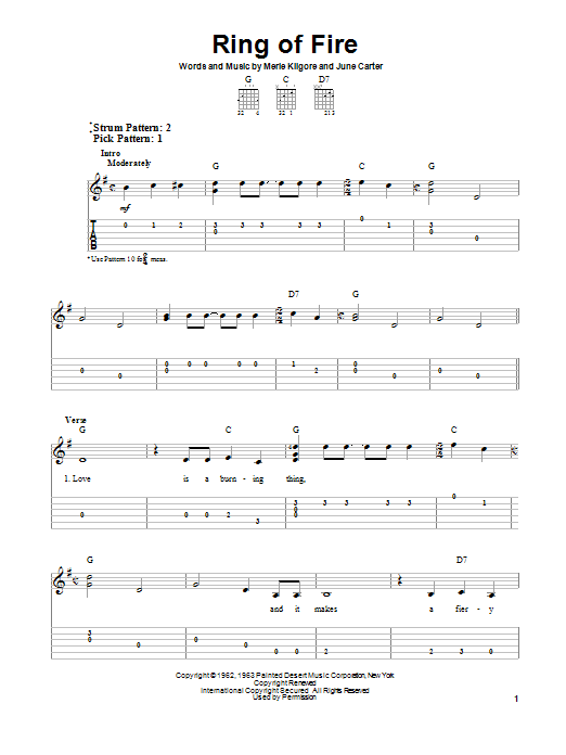 Ring Of Fire By Johnny Cash Easy Guitar Tab Guitar Instructor