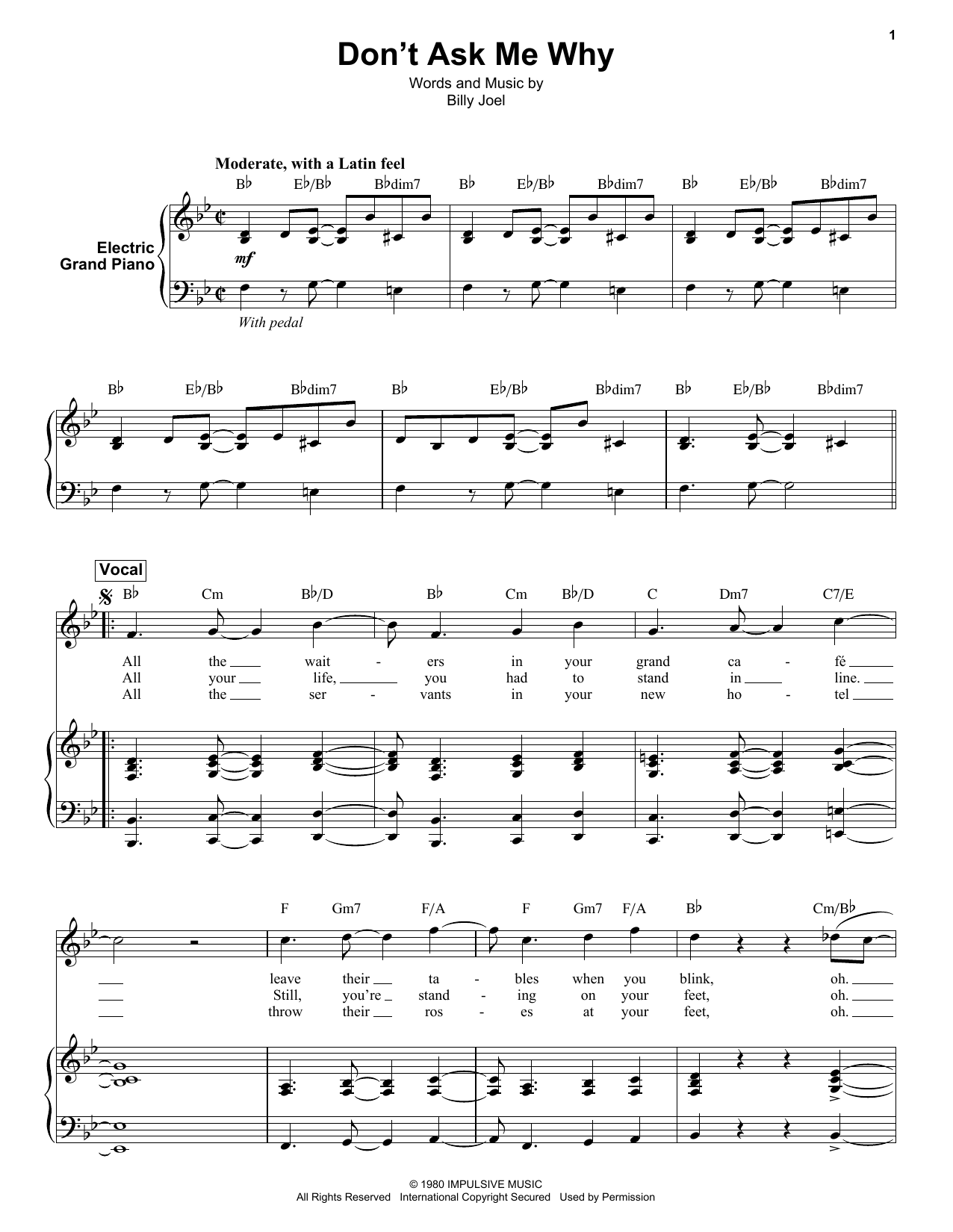 Don't Ask Me Why (Keyboard Transcription)