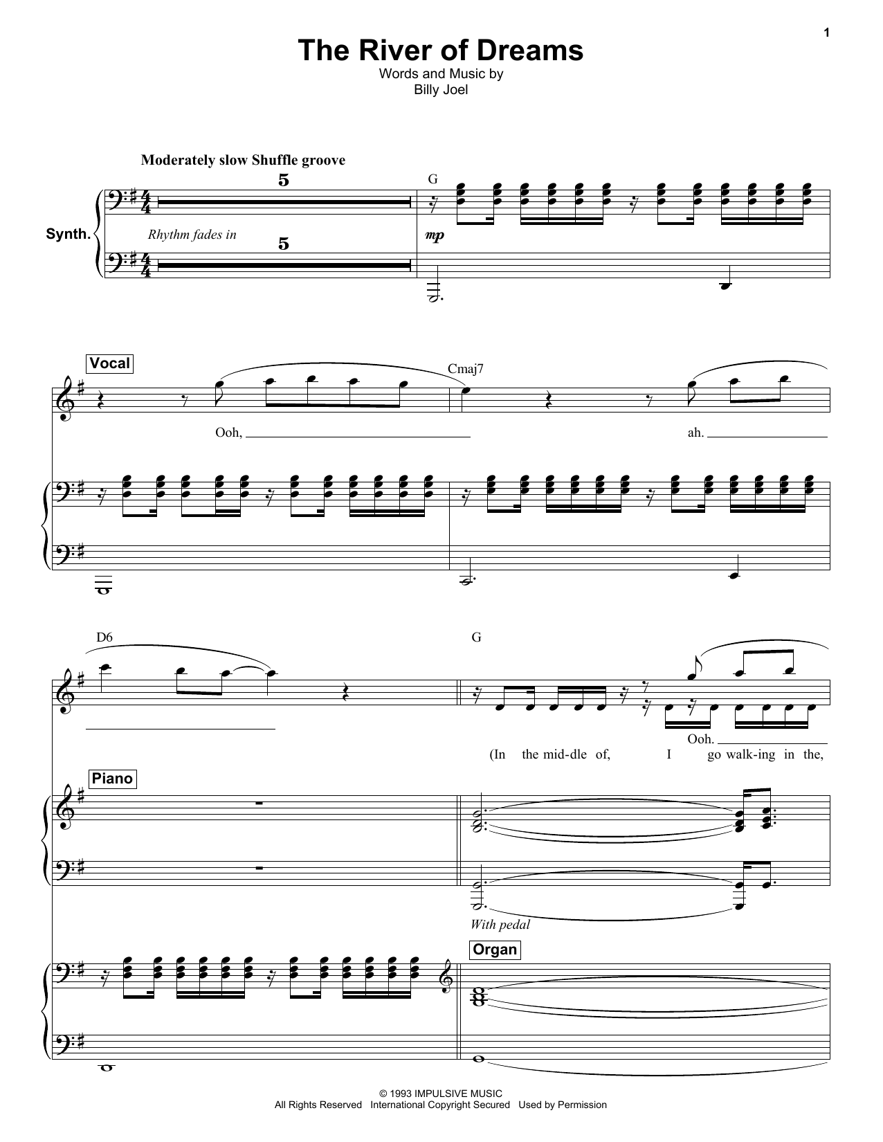 The River Of Dreams (Keyboard Transcription)