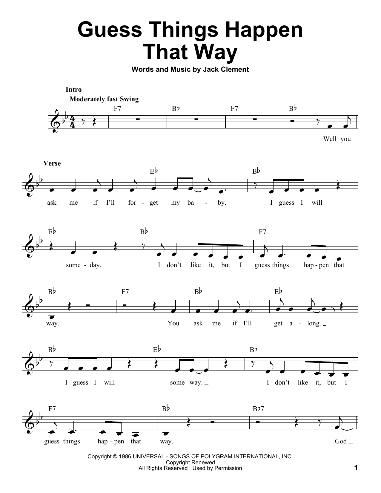 Guess Things Happen That Way Sheet Music