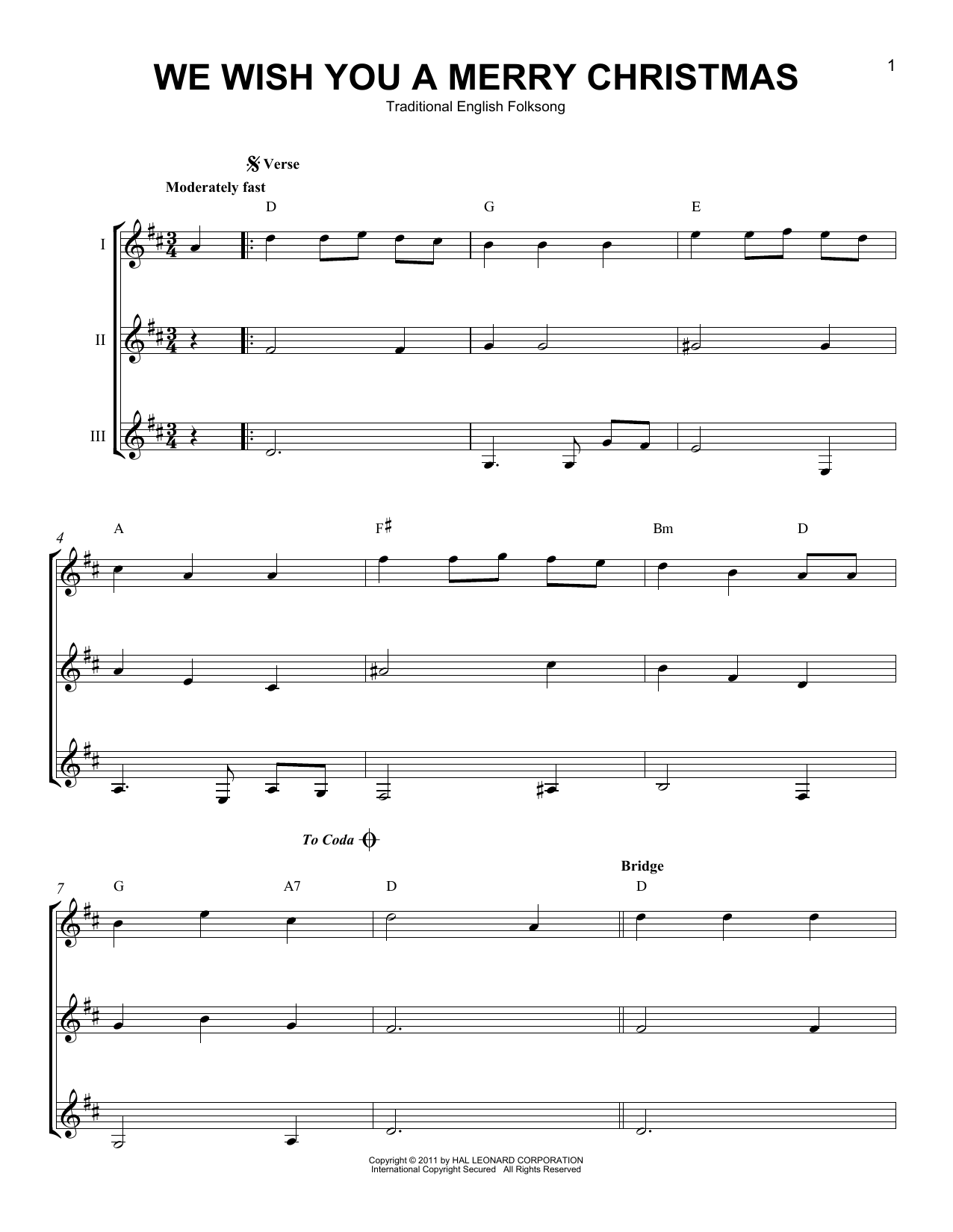 We Wish You A Merry Christmas Sheet Music By Christmas Carol Guitar