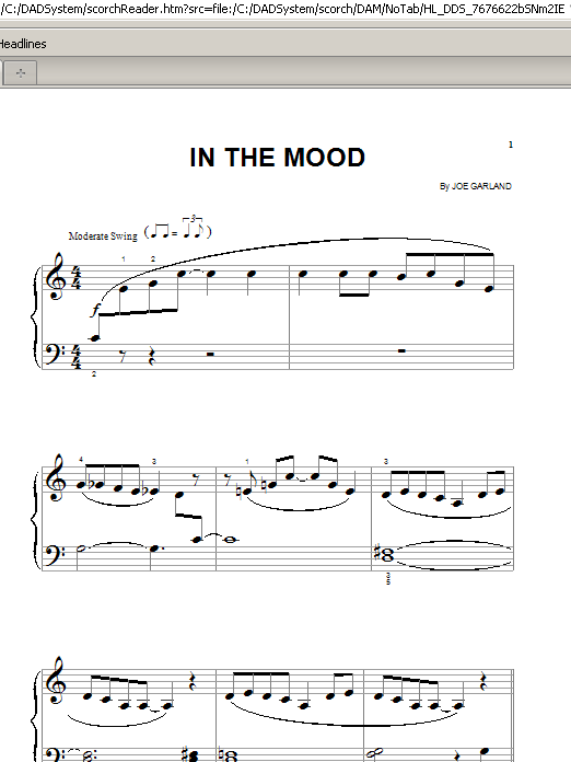 In The Mood (Big Note Piano)