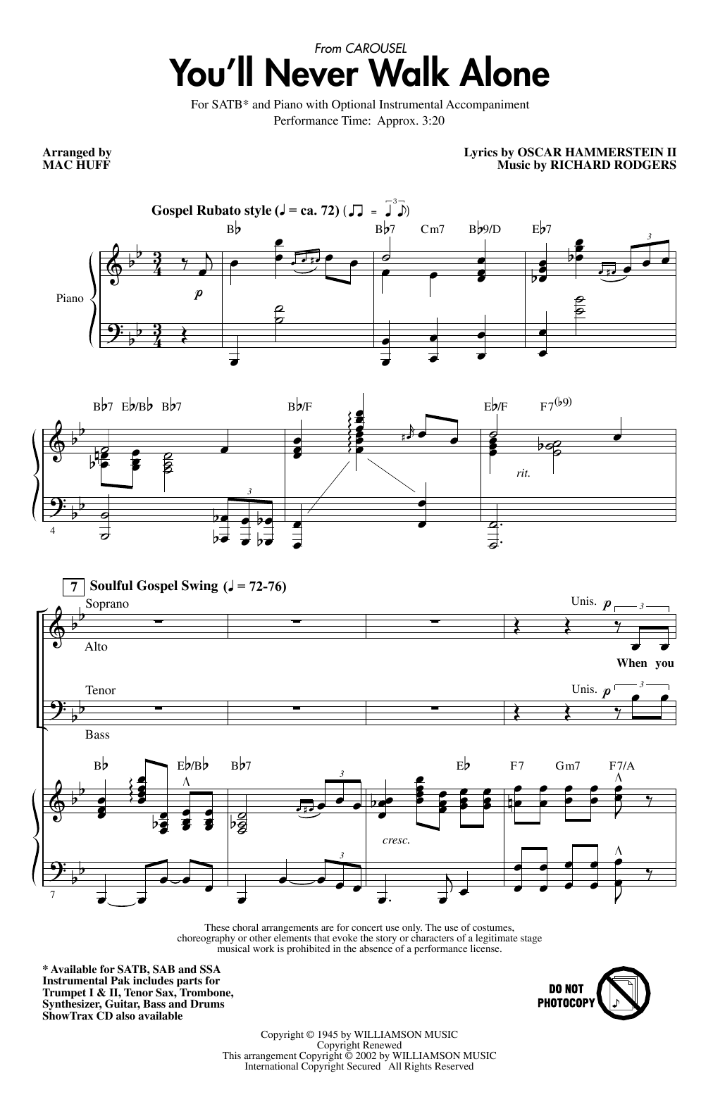You'll Never Walk Alone (from Carousel) (arr. Mac Huff) Partition Digitale