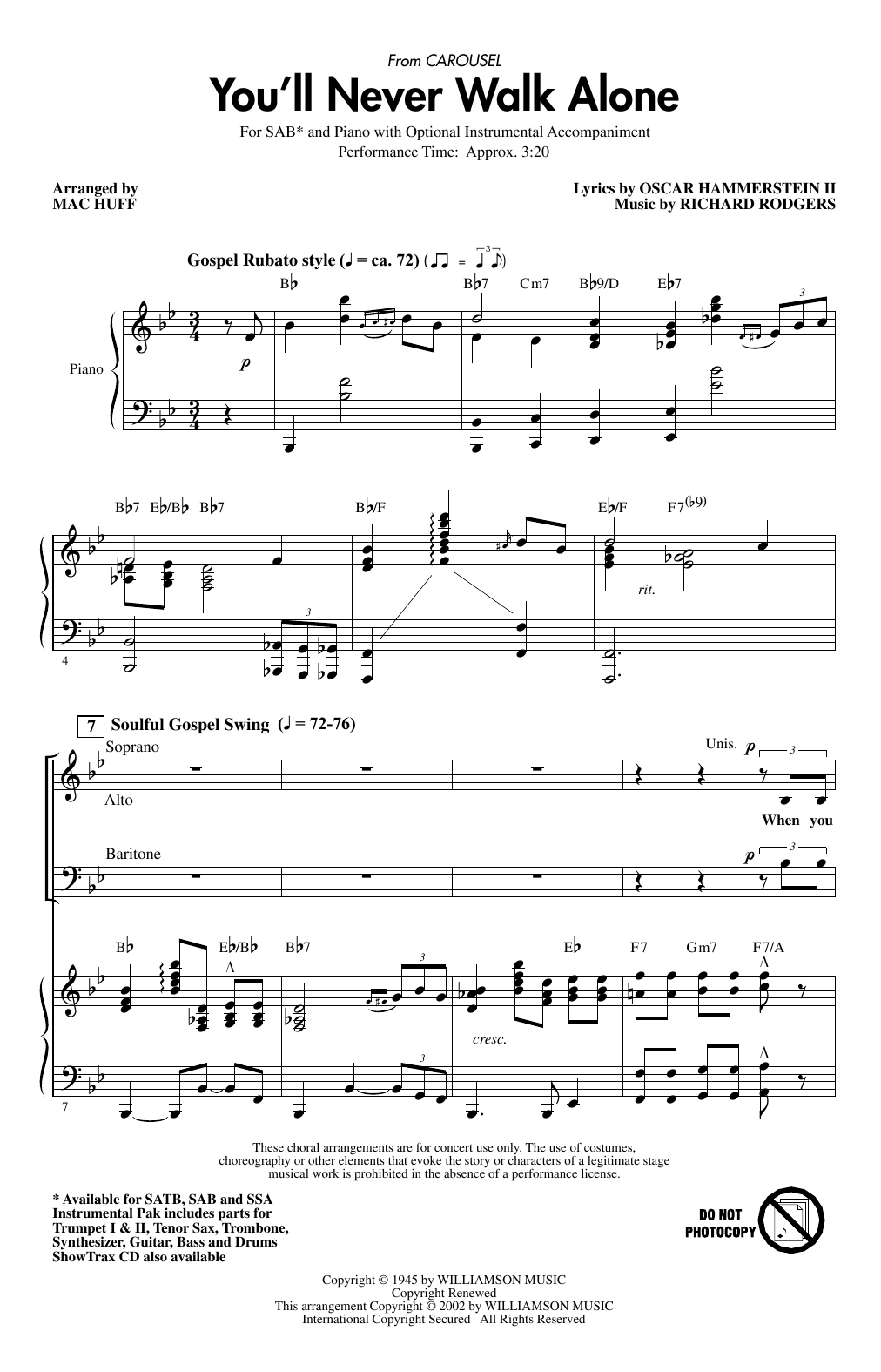 You'll Never Walk Alone (from Carousel) (arr. Mac Huff) Sheet Music