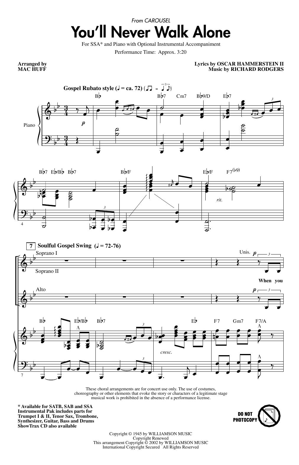 You'll Never Walk Alone (from Carousel) (arr. Mac Huff) Sheet Music
