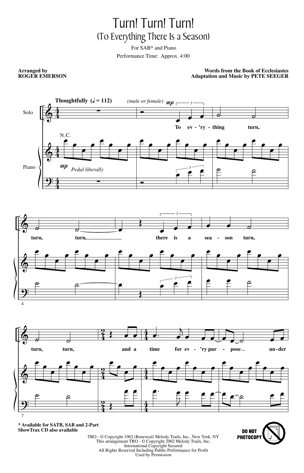 Turn! Turn! Turn! (To Everything There Is A Season) (arr. Roger Emerson) (SAB Choir)