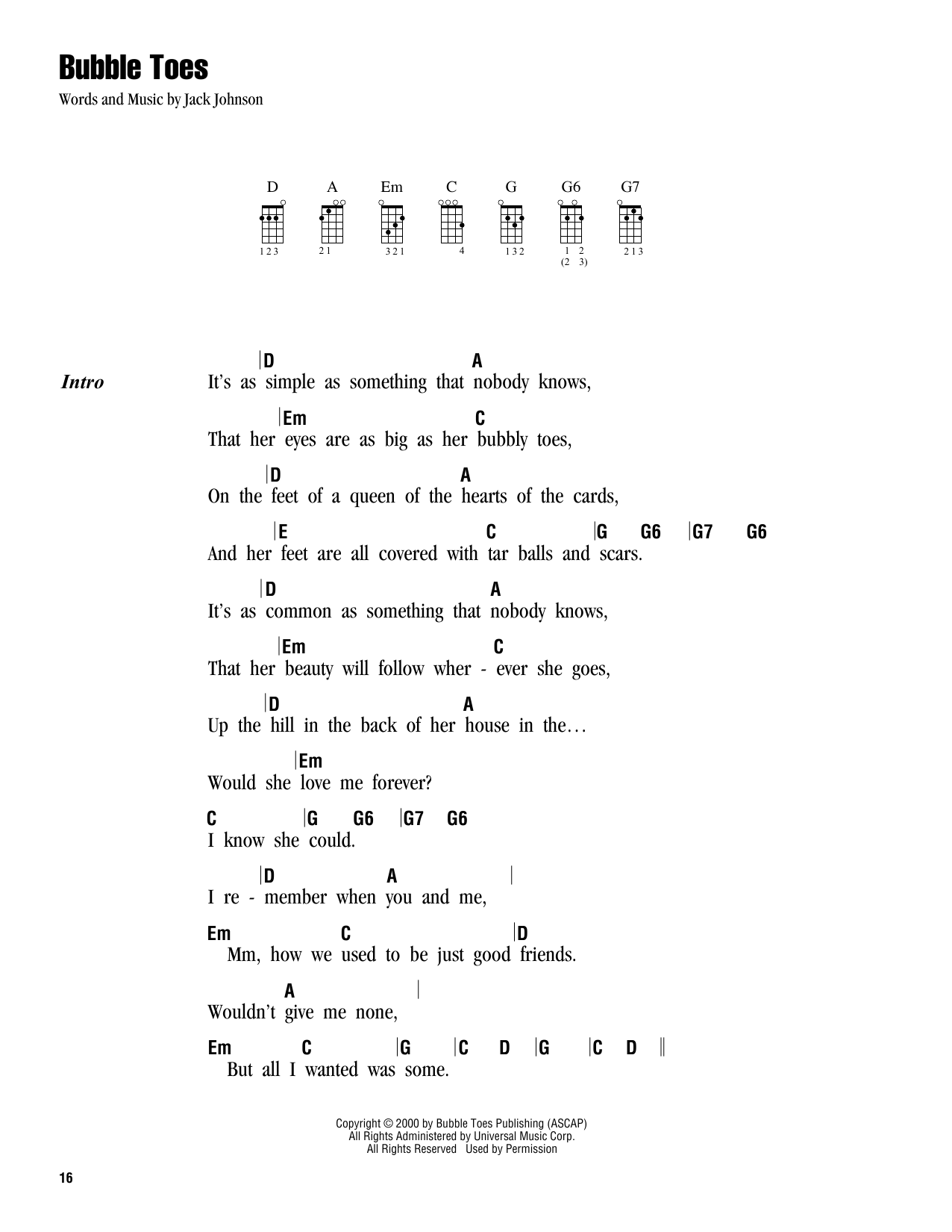 Tablature guitare Bubble Toes de Jack Johnson - Ukulele (strumming patterns)