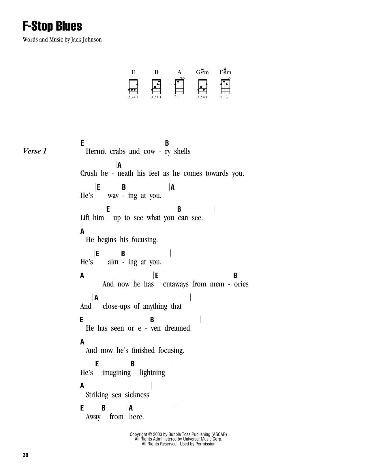 Tablature guitare F-Stop Blues de Jack Johnson - Ukulele (strumming patterns)