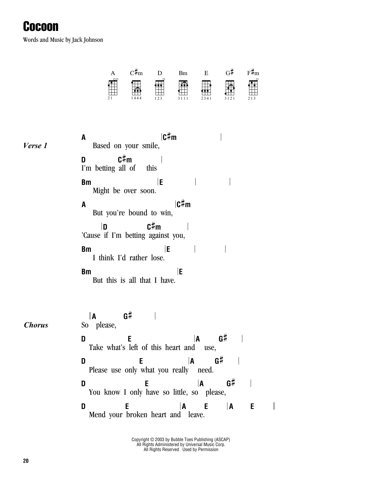 Cocoon sheet music by Jack Johnson (Ukulele with strumming patterns u2013 162897)