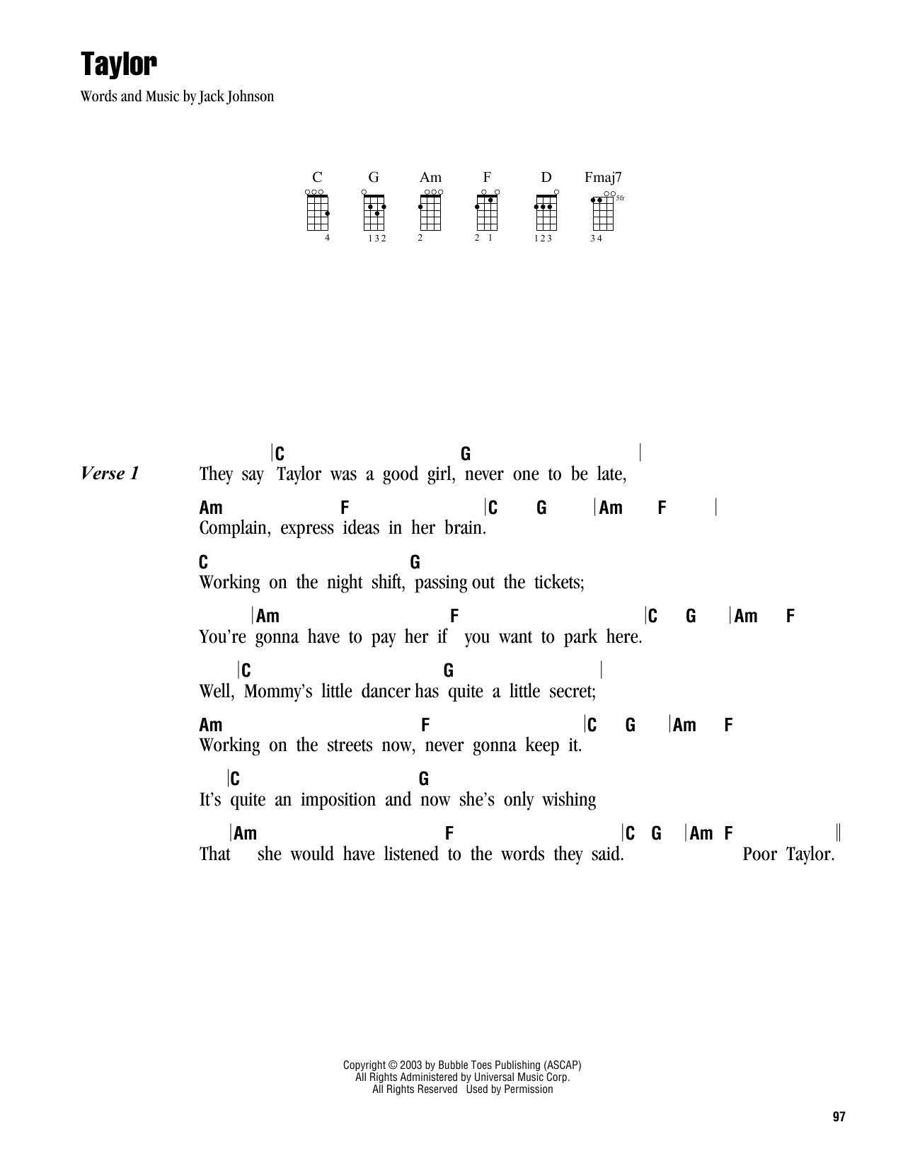 Tablature guitare Taylor de Jack Johnson - Ukulele (strumming patterns)