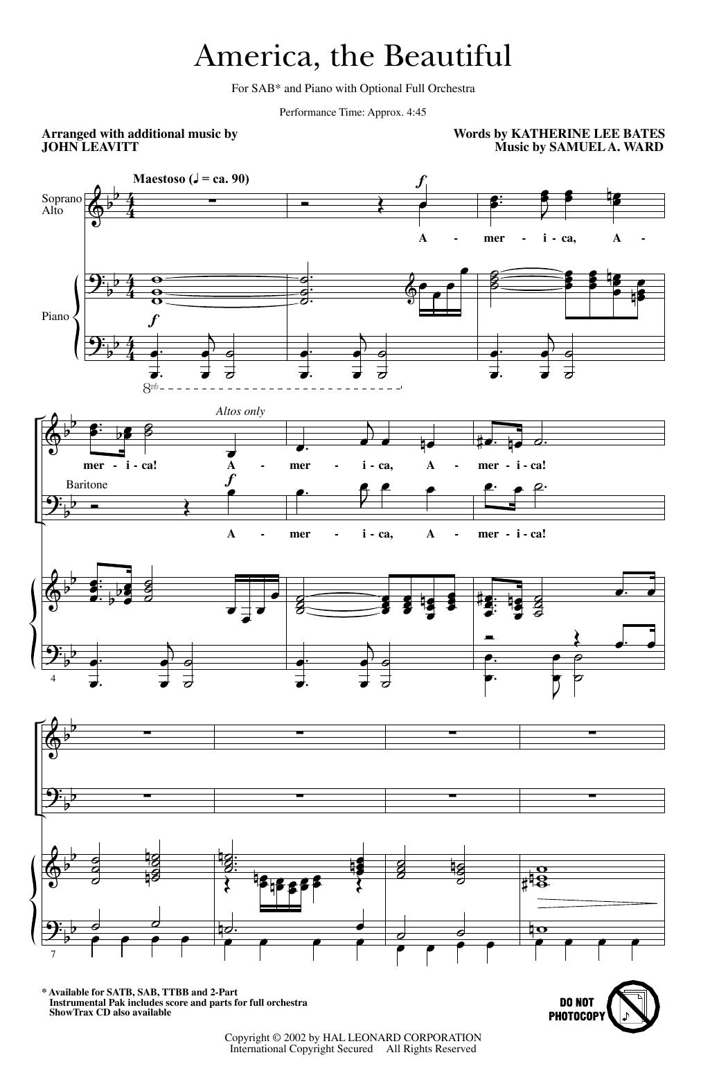 America, The Beautiful (arr. John Leavitt) Sheet Music